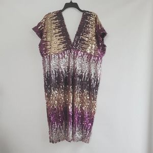 Sequin Purple Black Gold Shift Dress Size 3X